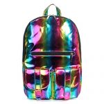 M-BAG Women Brilliant Hologram Laser Pu Leather Laptop Shoulder Bag School Backpack
