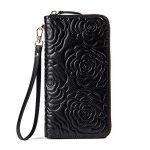 BOSTANTEN Leather Wallets Camellia Pattern Zipper Handbags with Wristlet for Women