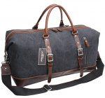 Iblue Unique Designed Handle Genuine Leather Trim Overnight Weekender Bag Canvas Shoulder Travel Duffel Gym Tote#B003