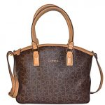 Calvin Klein Bag Monogram Canvas Crossbody Tote Camel Handbag Bag