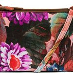 MUNDI Triple Zipper Womens Crossbody Bag Purse Floral Print Womens Handbag Wallet