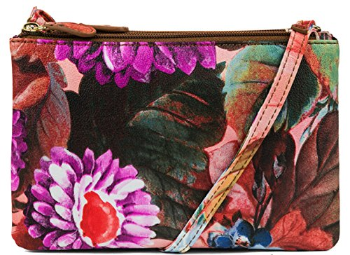 MUNDI Triple Zipper Womens Crossbody Bag Purse Floral Print Womens Handbag Wallet