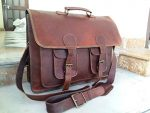 Handolederco. 18 Inch Vintage Handmade Leather Messenger Bag for Laptop Briefcase Satchel Bag