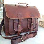 Handolederco. 18 Inch Vintage Handmade Leather Messenger Bag for Laptop Briefcase Satchel Bag