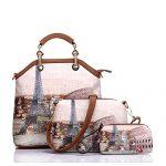 Realer Women's Handbags Purse Tote Bags Female Crossbody Bags 3 Pcs Shoulder Bags Top-Handle Handbag PU Leather Set