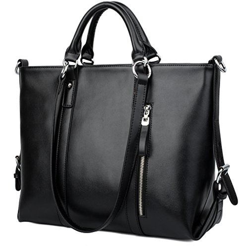 YALUXE Women s Urban Style 3-Way Leather Work Tote Shoulder Bag Black 546069aa1