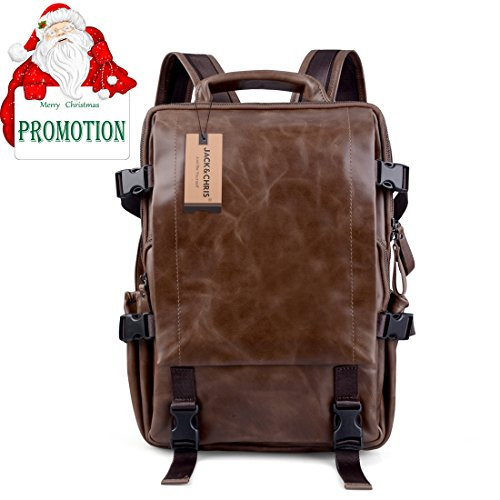 4f575b0b8b Jack Chris Vintage Men Women s Genuine Leather Backpack Schoolbag ...