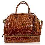 Terrida Italian Designer Caramel Croc Leather Duffle Bag w/Shoe Compartment