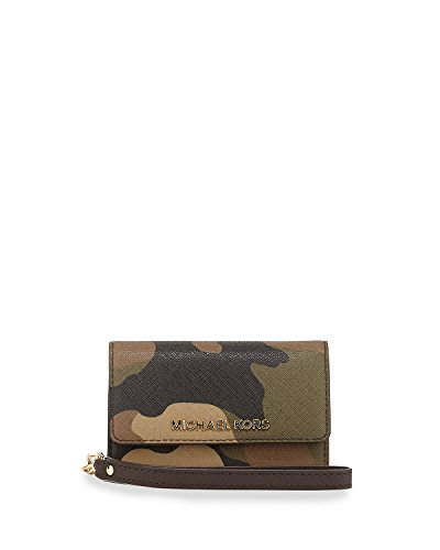 Michael Kors Jet Set Camouflage Saffiano Leather Phone Iphone 5 Wristlet Duffle