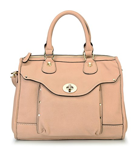 Rimen & Co. Womens High Quality Front Pocket Top Zipper Closure Doctor Style Tote Bag Handbag RX-1664 (Beige)