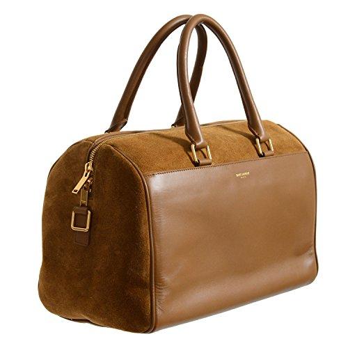 Saint Laurent Women's Brown Calfskin Suede Leather Classic Duffle 6 Bag