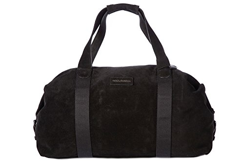 Dolce&Gabbana genuine leather travel duffle weekend shoulder bag black