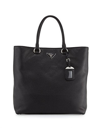 Prada Vitello Daino North-South Tote Bag, Black (Nero)