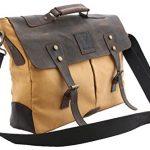 """DH Genuine Leather Vintage 16"""" Laptop Canvas Messenger Satchel Briefcase Bag Cream 16"""" (L) x12"""" (H)"""