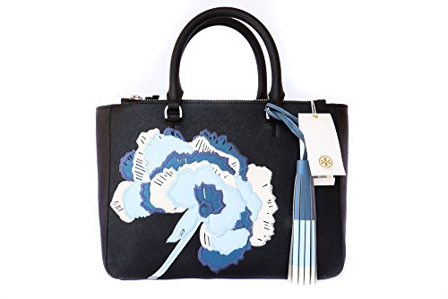 Tory Burch Black Robinson Floral Appliqué Tote Black Blue White Flower New