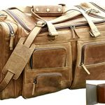 SALE 24 Inch Vintage Leather Duffel Travel Gym Sports Overnight Weekend Cabin FREE WALLET