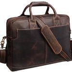 "Iswee Crazy Horse Cowhide Leather Durable Shoulder Briefcase, 17.3"" Laptop Messenger Bag Handbags (Dark Brown)"