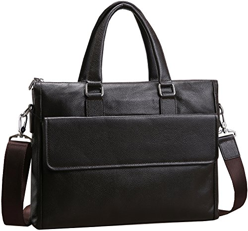 abe8328a547 Iswee Business Genuine Leather Briefcase Tote Shoulder Bag Messenger 14′ in  Laptop Case for Men (Coffee)