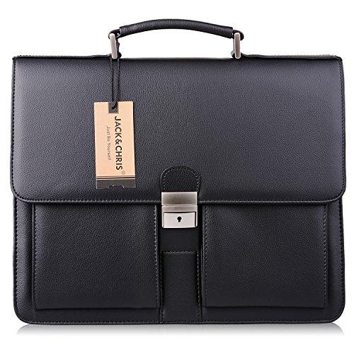 8511343a5d48 Jack Chris Mens New PU Leather Briefcase Messenger Bag Laptop Bag