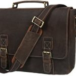 Iswee Men's Crazy Horse Cow Leather Business Tote Shoulder Messenger Bag 16' in Laptop Case (Deep Brown)
