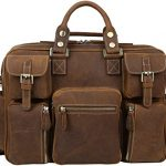 "Iswee Crazy Horse Cowhide Leather Multi-Pocket Tote Briefcase Messenger Bags, Fit 15.6"" in Laptop (Brown)"