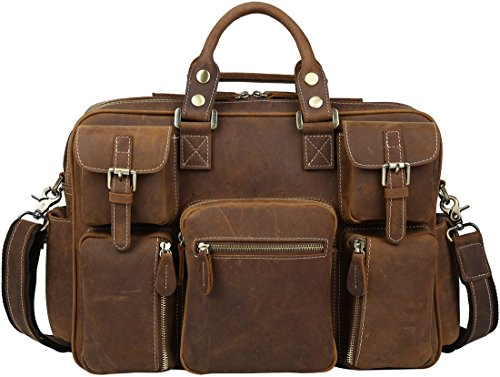 Iswee Crazy Horse Cowhide Leather Multi-Pocket Tote Briefcase Messenger Bags, Fit 15.6