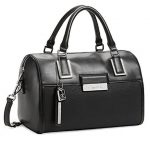 Calvin Klein Valerie Sleek Barrel Satchel Bag Handbag (Black)