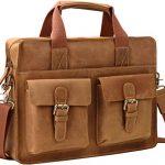 """Iswee Vintage Crazy Horse Cowhide Leather Tote Briefcase, 14"""" in Laptop Messenger Bag Shoulder Bag and Handbag for Men (Brown)"""
