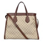 Gucci Ramble Original GG Canvas and Brown Leather Layered Tote Handbag 370820