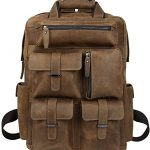 "Iswee Crazy Horse Cowhide Genuine Leather Backpack Travel Daypack,15.6"" in Laptop Bag Business Messenger Handbag for Men (Brown)"
