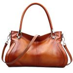 AINIMOER Womens Soft Leather Purse Vintage Shoulder Bag Tote Top-handle Handbags Cross Body Bags