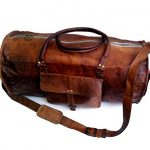 "Jaald 24"" Genuine Leather Men's Duffel bag Gym Sports Travel Weekend Duffle Bag."