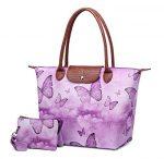 Crest Design Women's Large Handbag Tote Shoulder Bag Purse for Work School Travel Gym Shopping Beach ( 2Pcs Set)