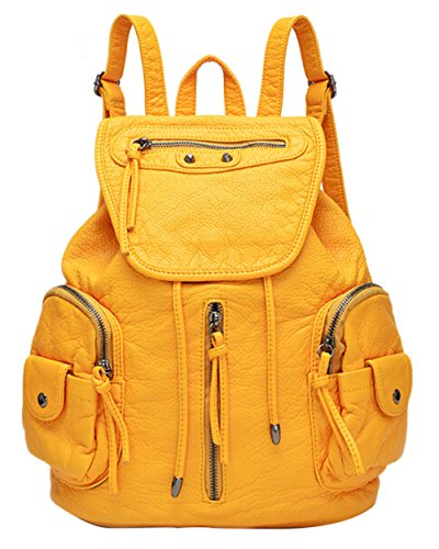 Bronze Times (TM) Vintage PU Leather Large Capacity School College Backpack
