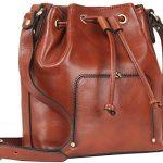 Banuce Vintage Leather Mini Drawstring Crossbody Shoulder Bucket Bag