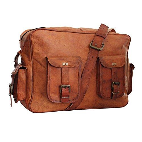 LUST Genuine Vintage Handmade Leather Crossbody Laptop Messenger Bag 16