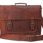 "SKH Leather 18"" Genuine Men's Auth Real Leather Messenger Laptop Briefcase Satchel Mens Bag"