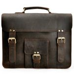 ZLYC Men Convertible Leather Briefcase Backpack Vintage 15.6 Inch Laptop Messenger Bag Handmade Shoulder Bag, Dark Brown