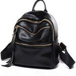 PU Leather Designer Mini Backpack Purse Handbag for Women and Girls (Black V2)