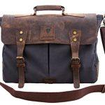 "Devil Hunter Genuine Leather Vintage 16"" Laptop Canvas Messenger Satchel Briefcase Bag Grey 16""(L)x12""(H) x 4""(W)"