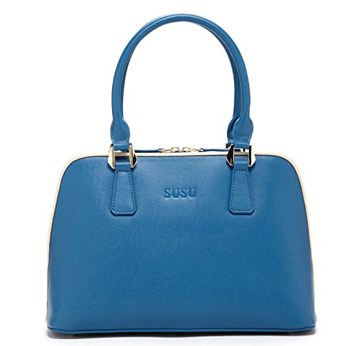 SUSU Saffiano Leather Satchel Bags for Women Dome Shape Leather Satchel Handbag Purse London Blue Designer Handbags French Blue Purse or Brilliant Blue Bag for Work Light Gold Metal Medium Size Purses