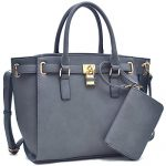 Dasein Women's Buffalo Faux Leather Belted Padlock Satchel Handbag Tote With Coin Purse & Shoulder Strap Grey