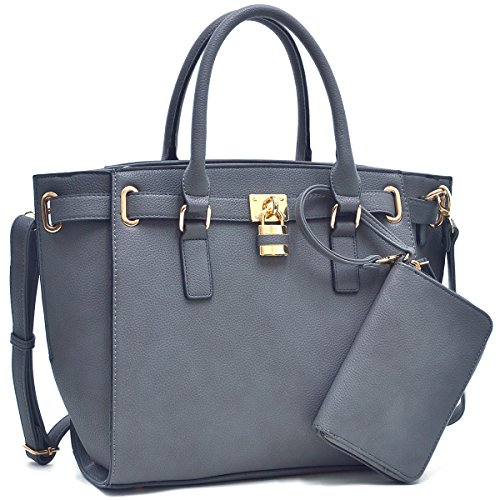 26b0d521567 Dasein Women s Buffalo Faux Leather Belted Padlock Satchel Handbag Tote  With Coin Purse   Shoulder Strap Grey