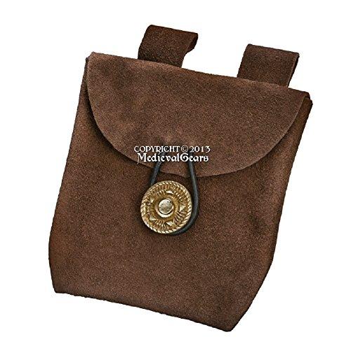 Medieval Gears Brand Renaissance Fair Costume Suede Leather Pouch Satchel Bag