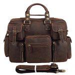 Polare Men's Vintage Thick Cowhide Leather Messenger Shoulder Travel Bag Satchel Briefcase