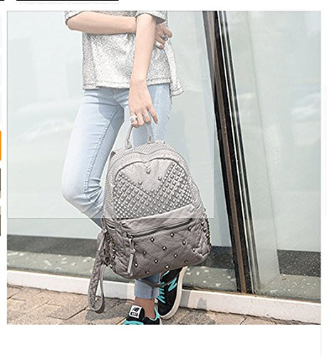 2017 Women Rivet PU Leather Backpack Women Fashion Backpacks for Teenage  Girls Ladies Bag Satchel Bags Bolsa Feminina (ฺGray Color) 22224b0708456