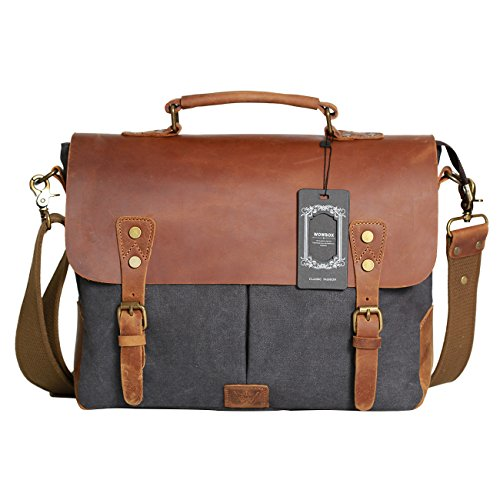 Wowbox Messenger Satchel bag for men and women,Vintage canvas real leather 14-inch Laptop Briefcase for everday use 13