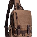 Leaper Canvas One Strap Sling Cross Body Messenger Bag Shoulder Backpack Travel Rucksack (Large,Coffee)