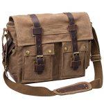 Y.S.Y Messenger Bag Leather Canvas Shoulder Bookbag Laptop Bag + Dslr Slr Camera Canvas Shoulder Bag For Sony Canon Nikon Olympus Coffee