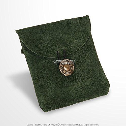Medieval Gears Brand Medieval Green Genuine Suede Leather Belt Pouch Satchel Bag Renaissance Costume